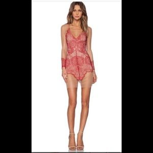 For The LOVE And Lemons xs Red nude mini dress